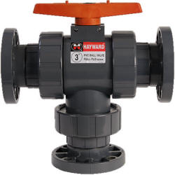 Hayward TW series 3-way ball valve with flanged connections