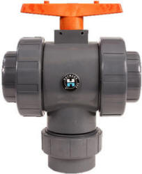 Hayward TW series 3-way ball valve with socket or threaded connections