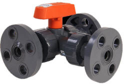 Hayward LA series lateral 3-way ball valve with flanged connections