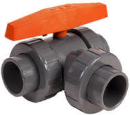 Hayward LA series lateral 3-way ball valve with threaded and socket connections