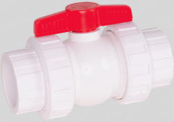 Hayward QTA series true union ball valves made of white PVC