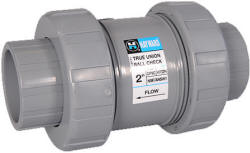 Hayward PVC ball check valve with FPM o-rings
