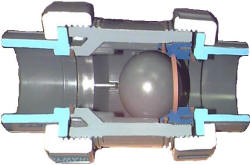 Cutaway of Hayward TC ball check valve